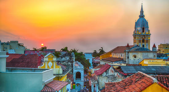 colombia cartegena sunset colorful skyline