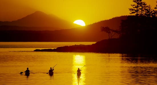 san juan islands usa kayak sunset
