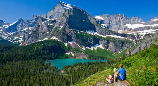 glacier national park lake peak couple
