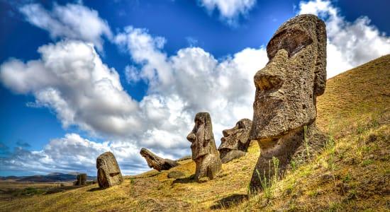 easter island rapa nui moai stone heads