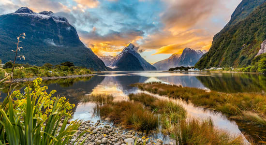 new zealand milford sound mitre peak sunset