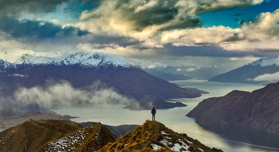 new zealand south island lake wanaka hiker