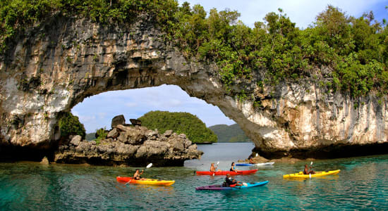 palau kayak ocean rock formation