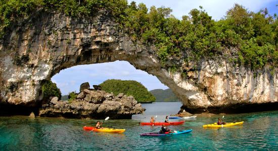 palau kayak ocean rock formation