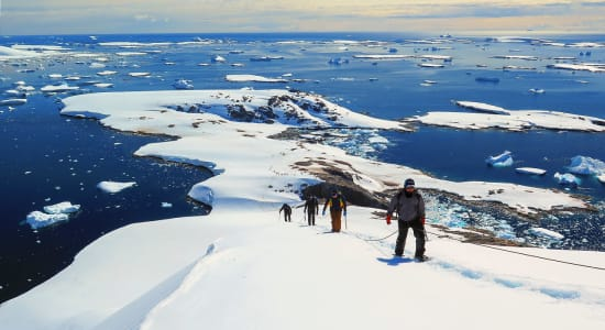 antarctica mountaineering hikers climbing