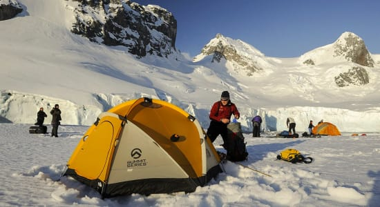 antarctica campsite tents campers with gear