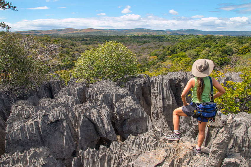 Hiker looks out over Madagascar's tsingy limestone pinnacle rock formations