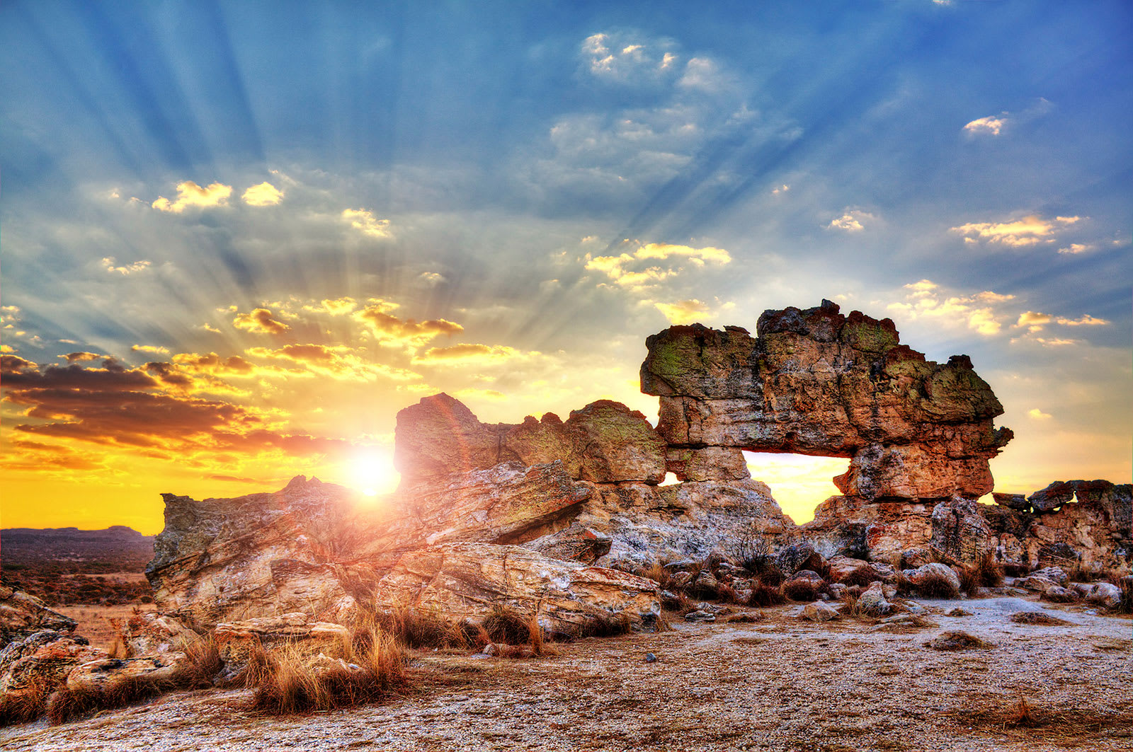 Sunset behind rock formation in Madagascar