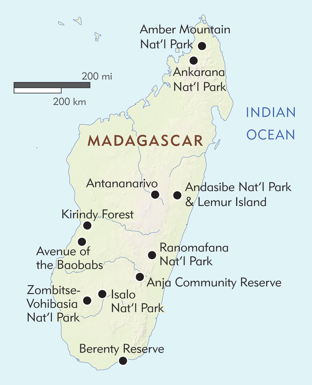 Madagascars National Parks Map