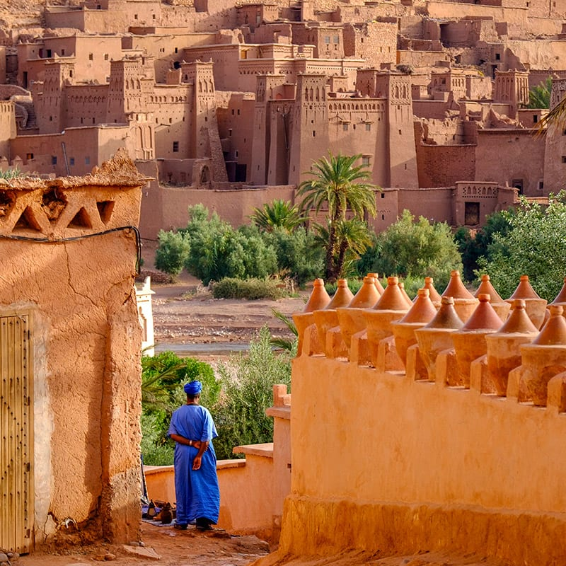 Arab man in blue robe and turban standing in front of red mud-brick village with palm tree and other greenery