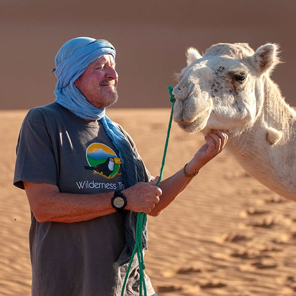 Smiling male traveler in blue turban and Wilderness Travel T-shirt scratching a white camel under its chin