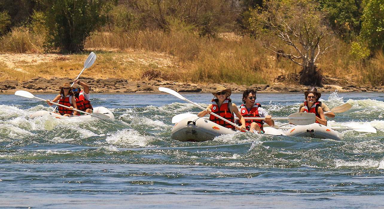 8 slide canoes handle white water with ease africa safari pano