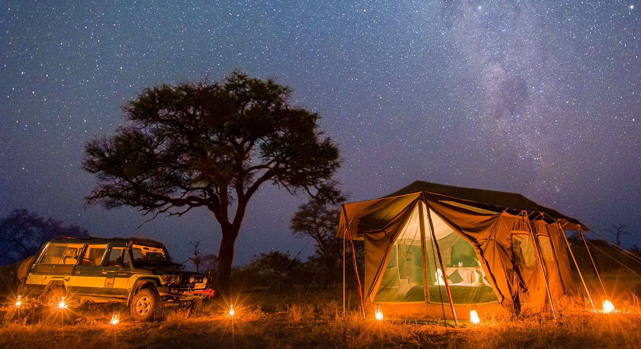 botswana night stars tent jeep