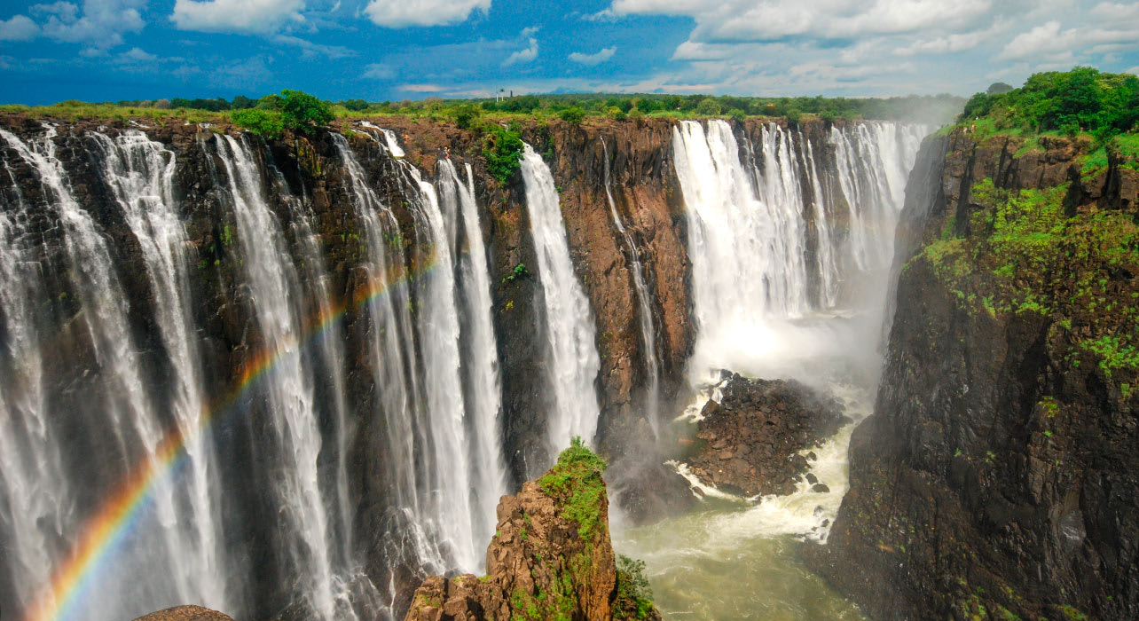 8 slide victoria falls waterfal zambia africa pano