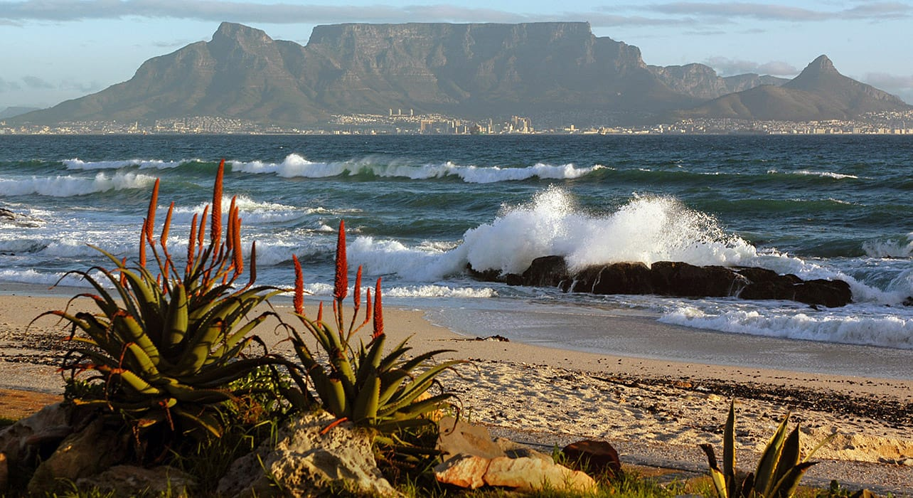 south africa table mountain ocean beach