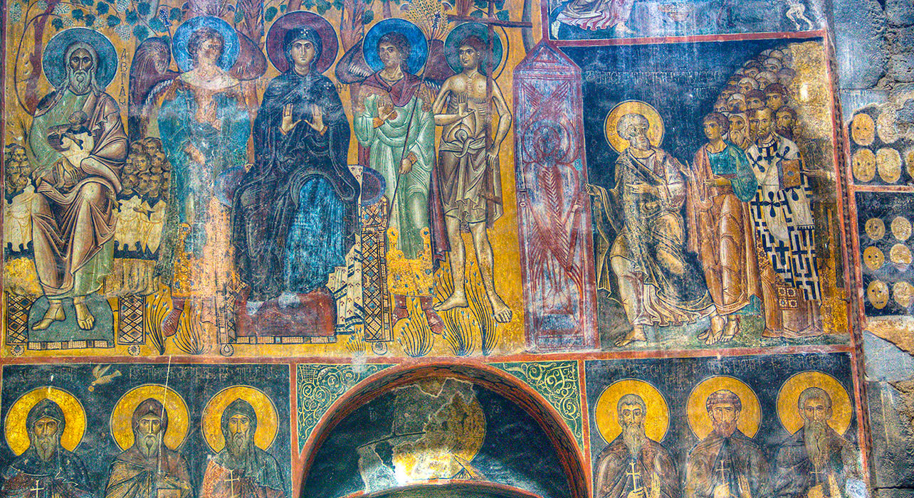 akhtala church wall fresco