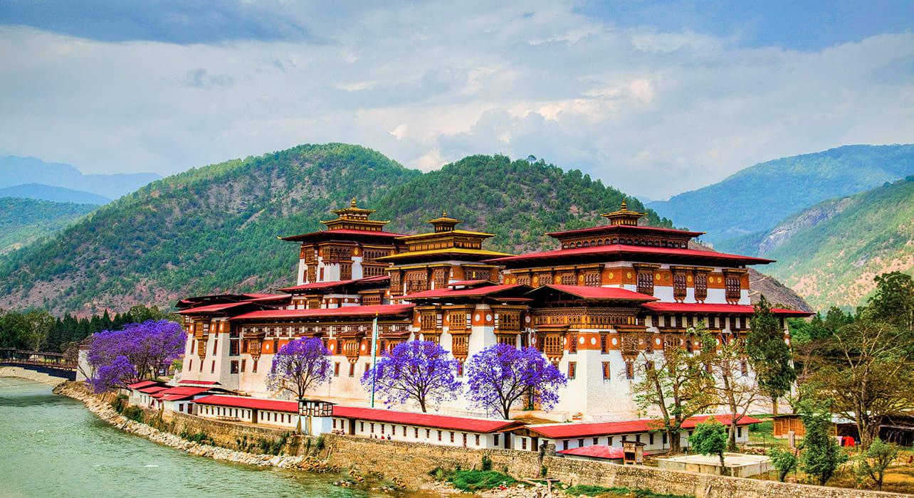 5 slide bhutan punakha dzong river jacaranda pano