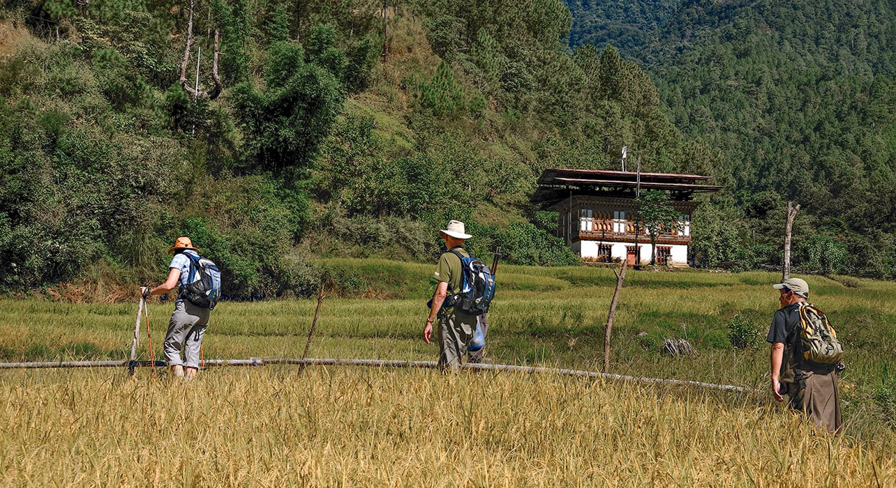 6 slide bhutan hike walk field tourists pano