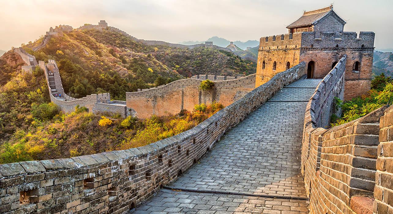 5 slide great wall of china sunset pano
