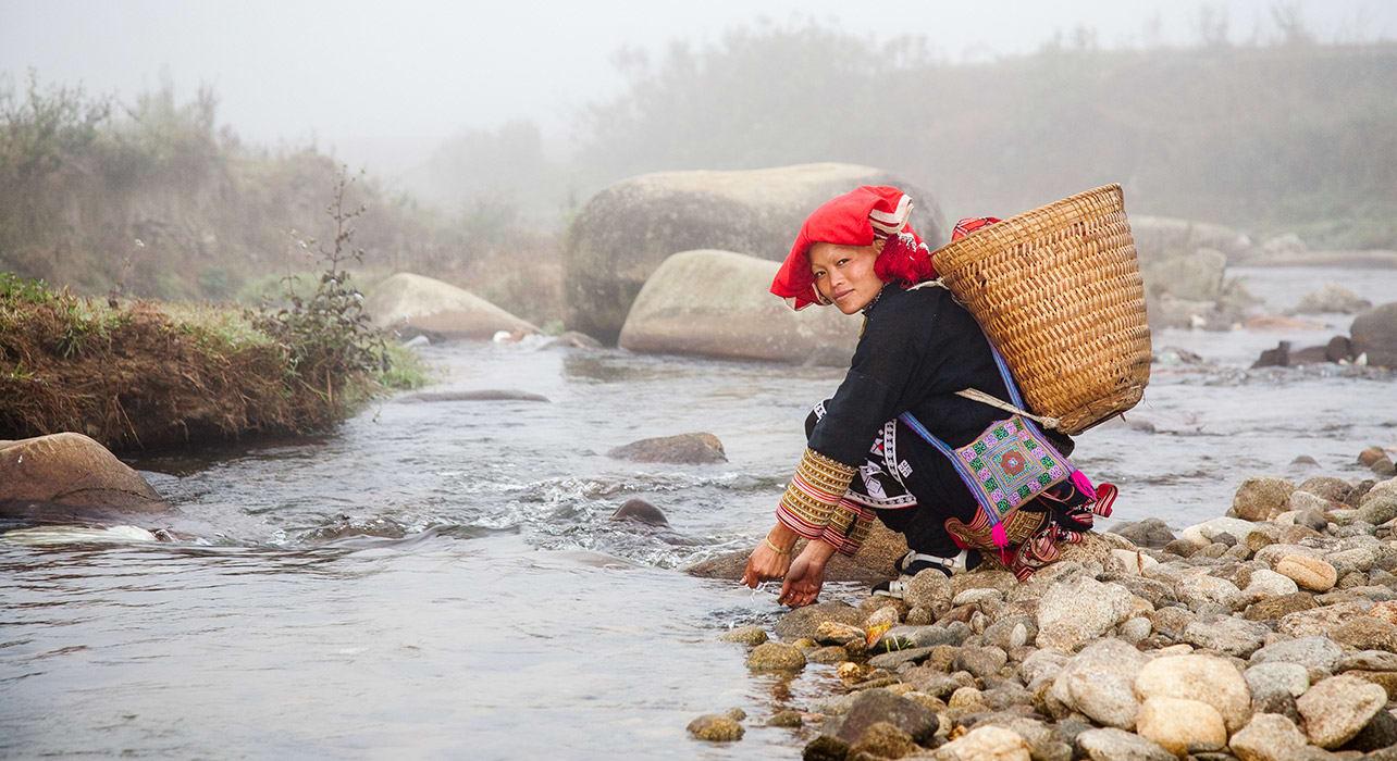 vietnam red dzao woman near sapa native ethnic traditional