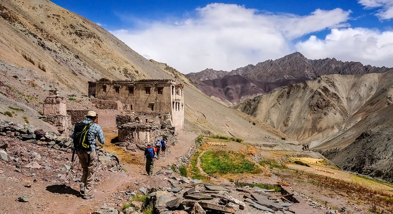 ladakh trekking hikers ruins