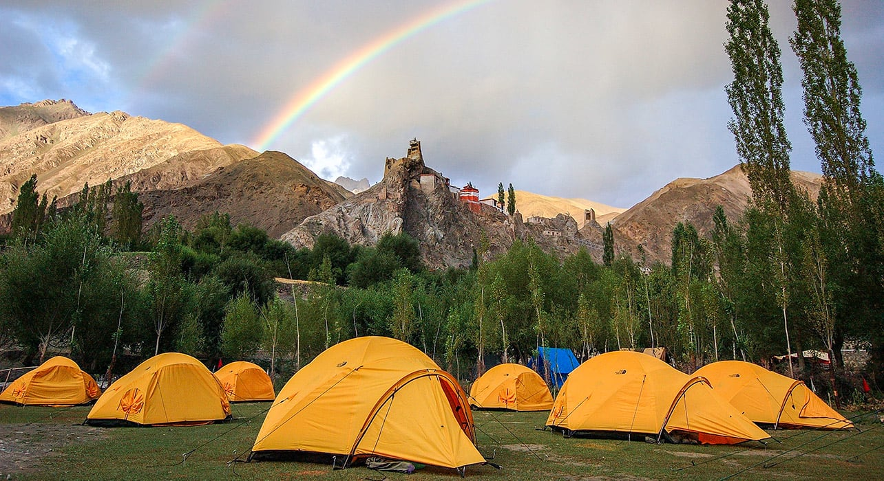 ladakh trek camp tents rainbow