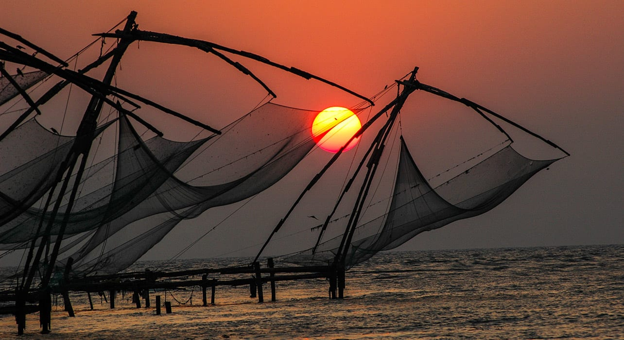 2 slide south india fishing nets sunset pano