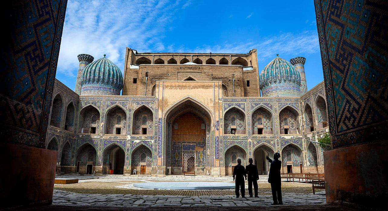 uzbekistan samarkand square tile domes central asia