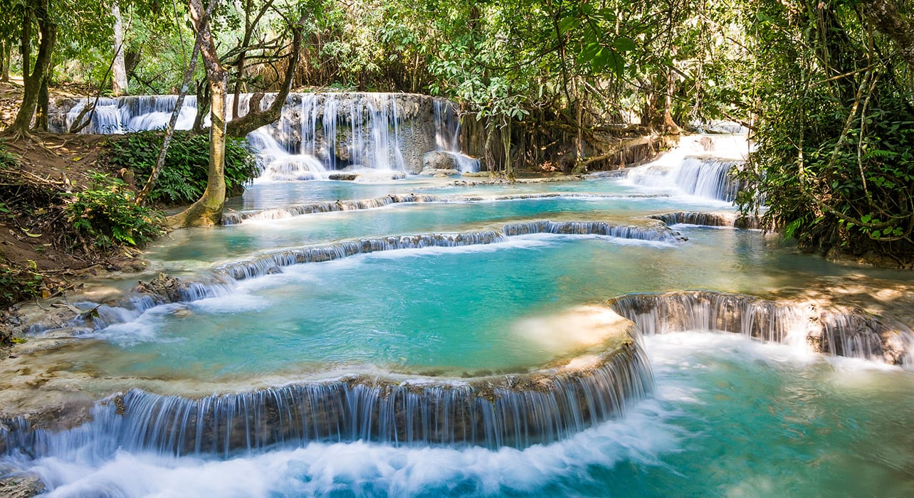 2 slide kuang si waterfall laos pano