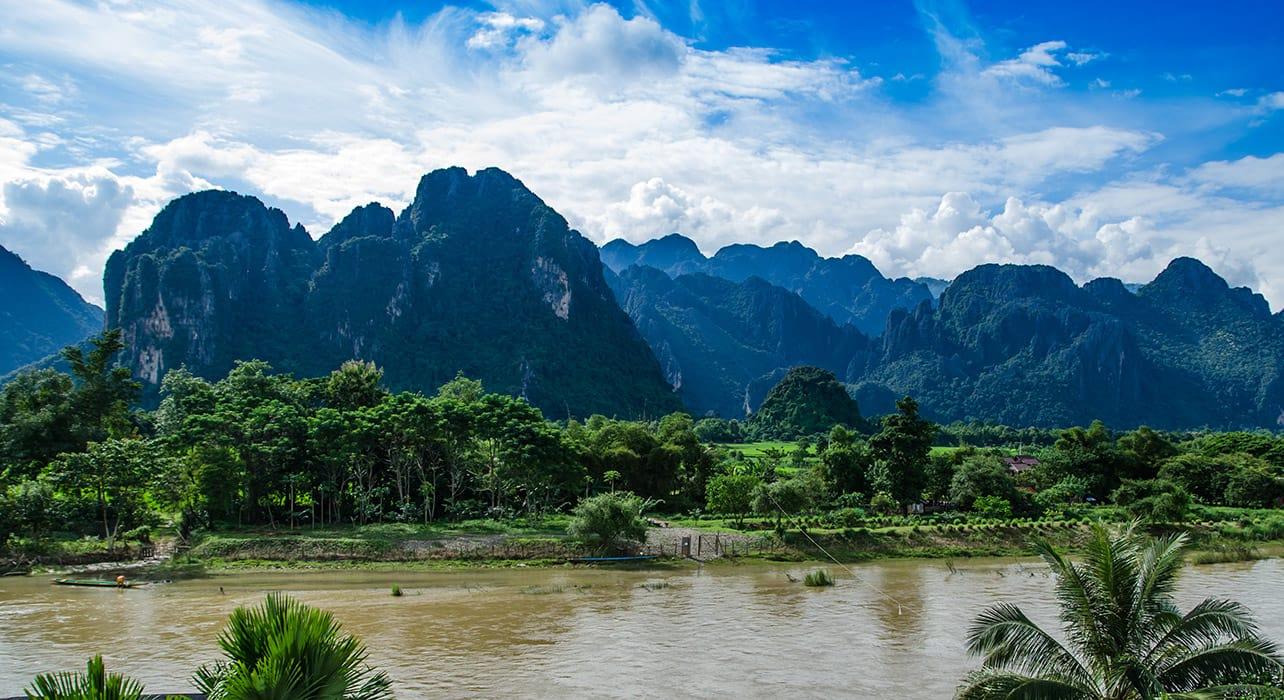 mekong river landscape laos