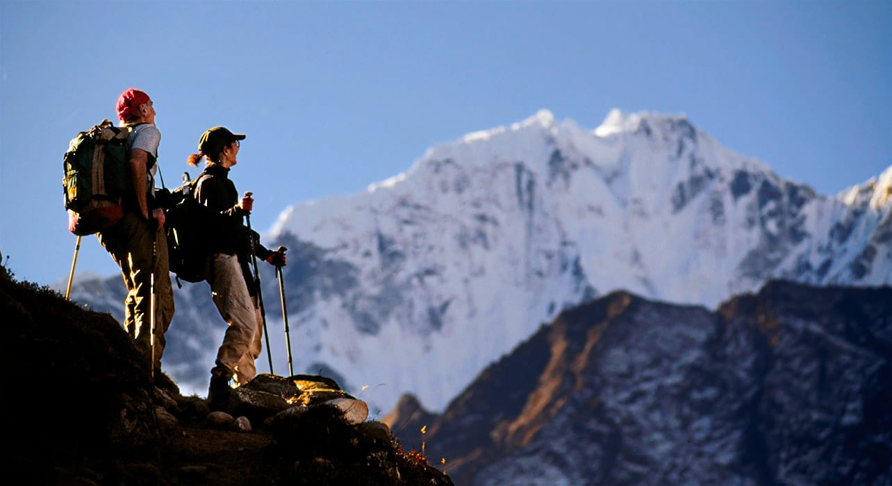 nepal hikers mountain view