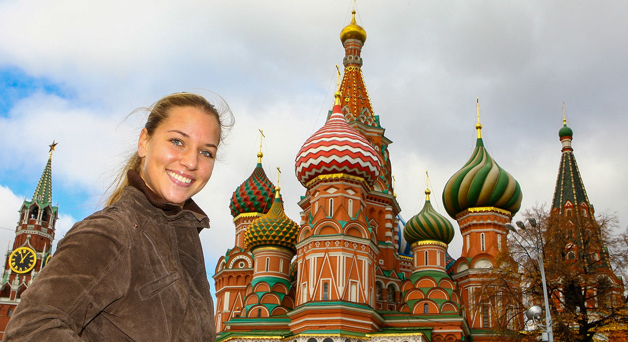 russia red square basil s smile woman