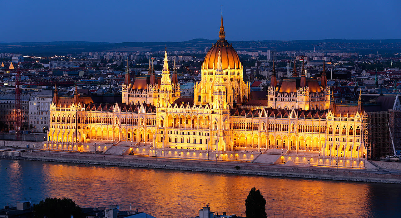 parliament in the evening budapest