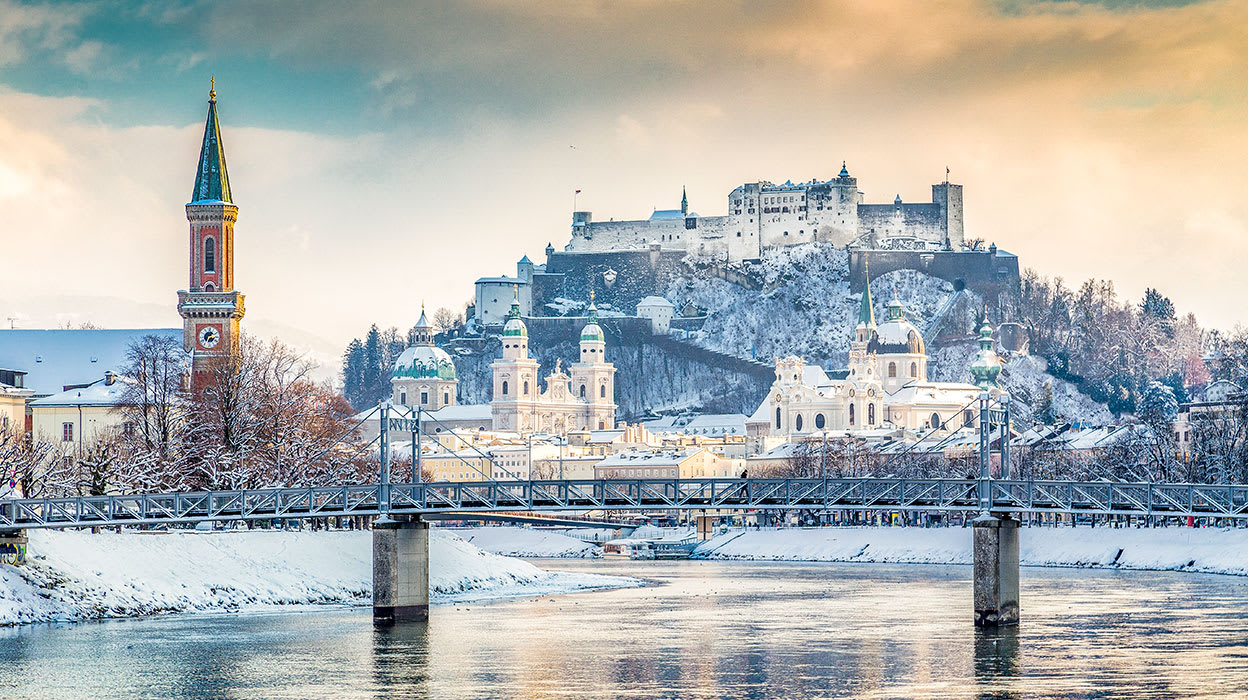 austria salzburg winter hohensalzburg fortress salzach river