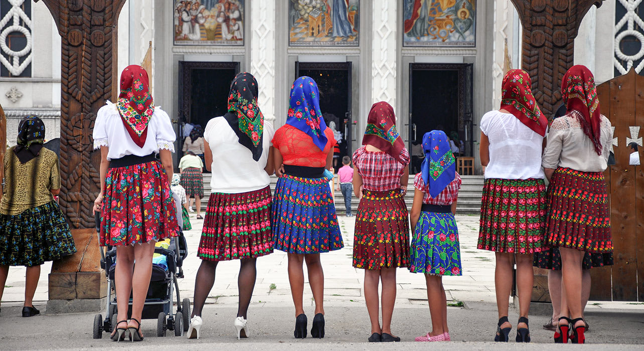 romania woman traditional dress church