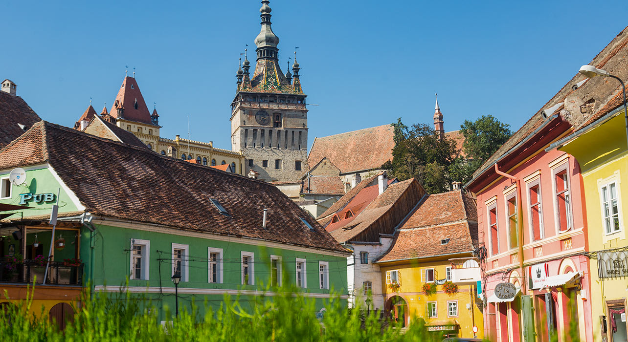 sighisoara with clock tower romania