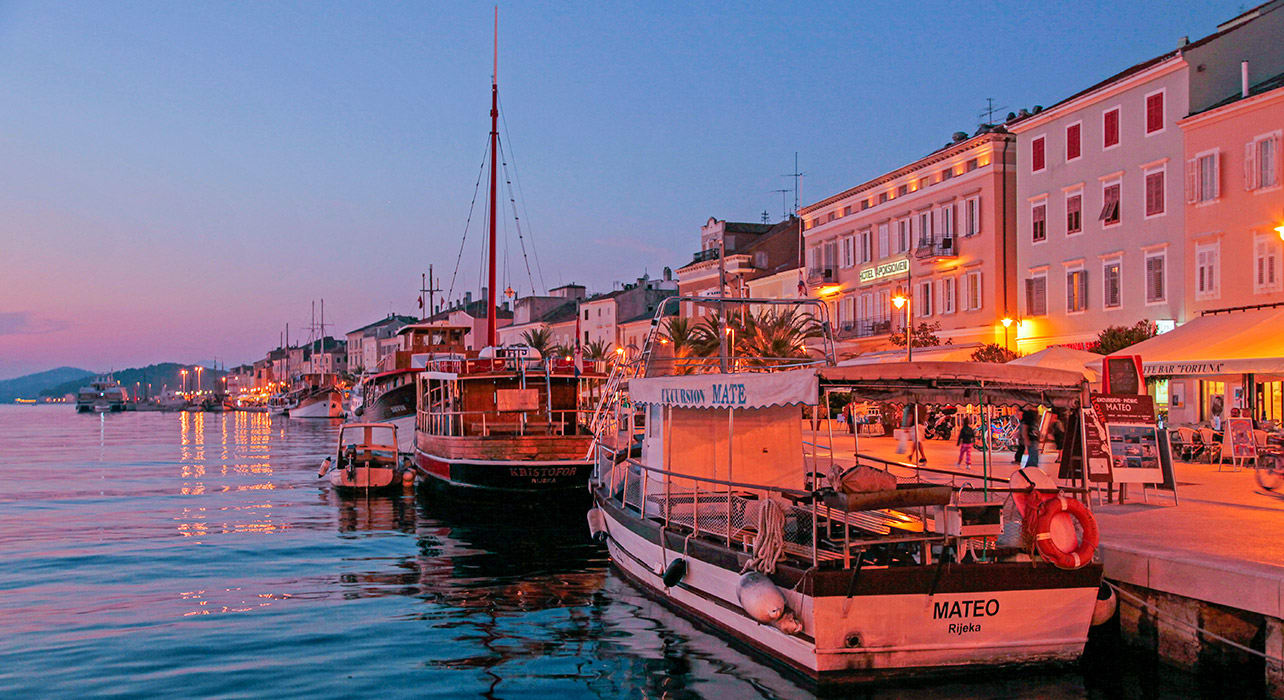croatia harbor at sunset