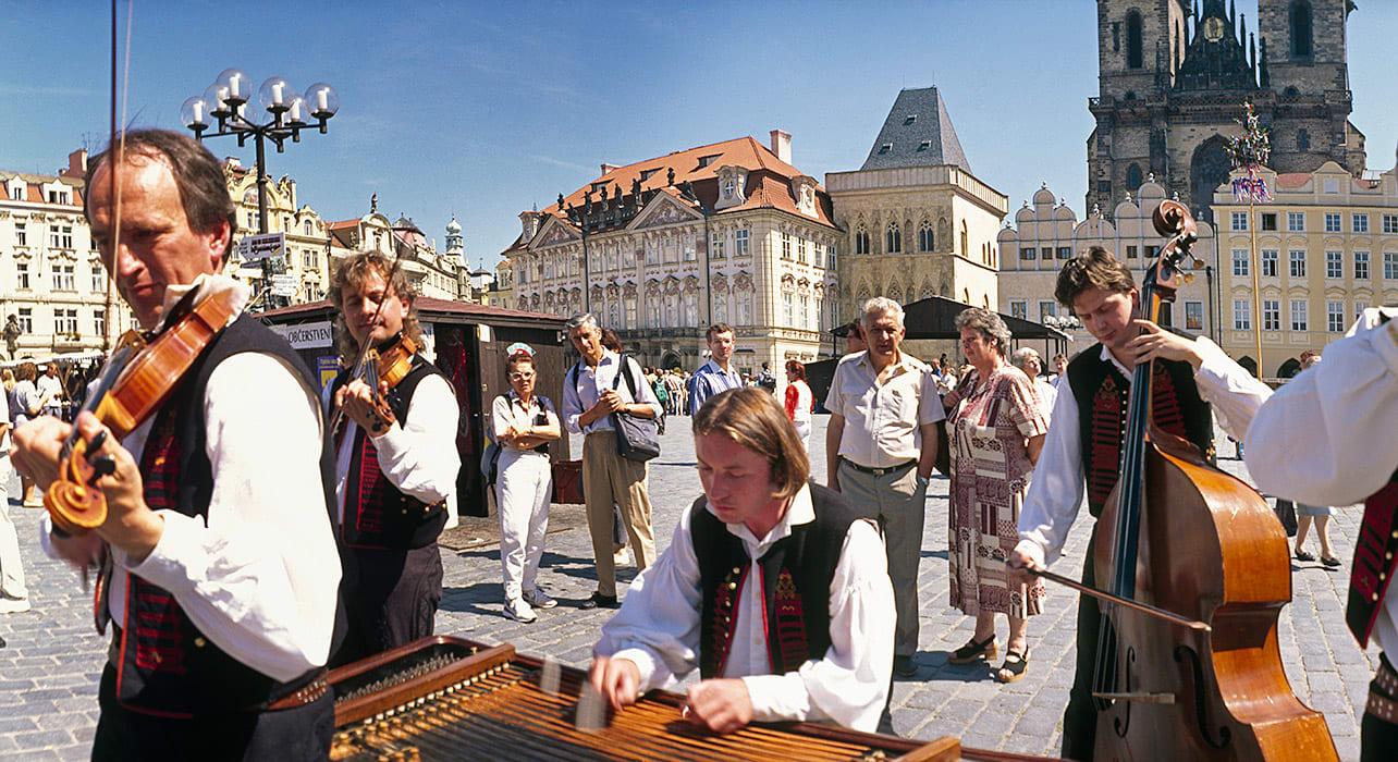 2 slide czech fun fair orchestra musicians pano