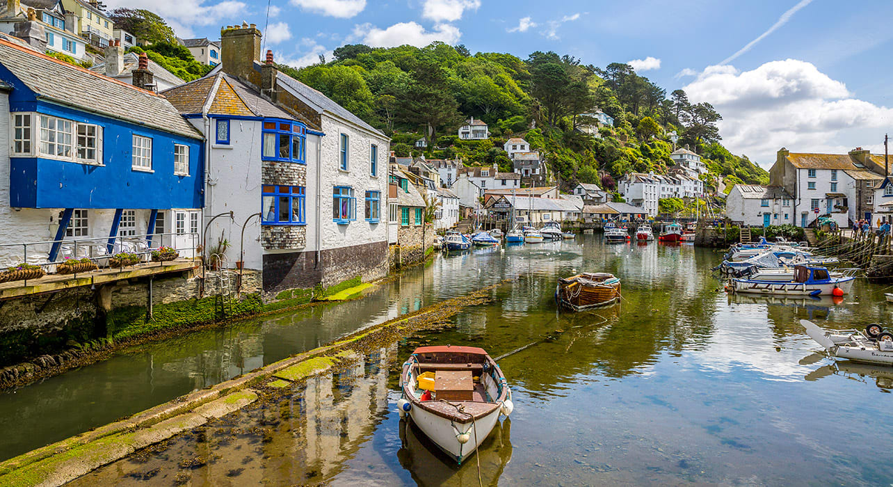 england cornwall polperro harbour
