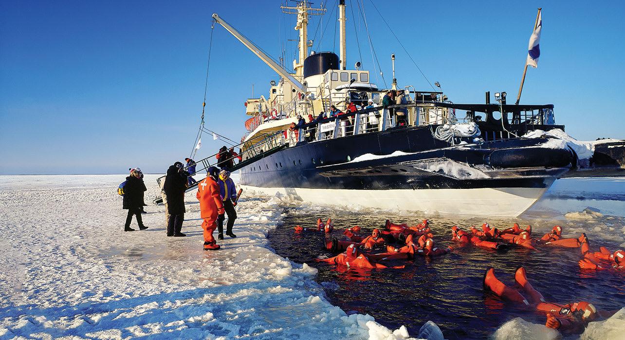 3 slide lapland finland baltic sea icebreaker passengers swimming pano