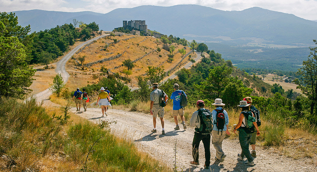 france cathar hikers castle