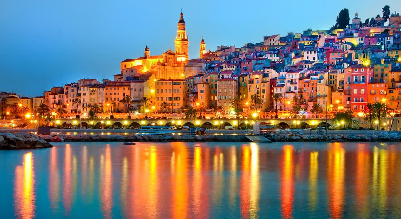 menton provence mediterranean twilight
