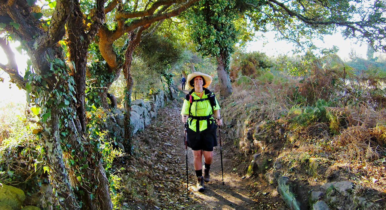france brittany trail with hiker
