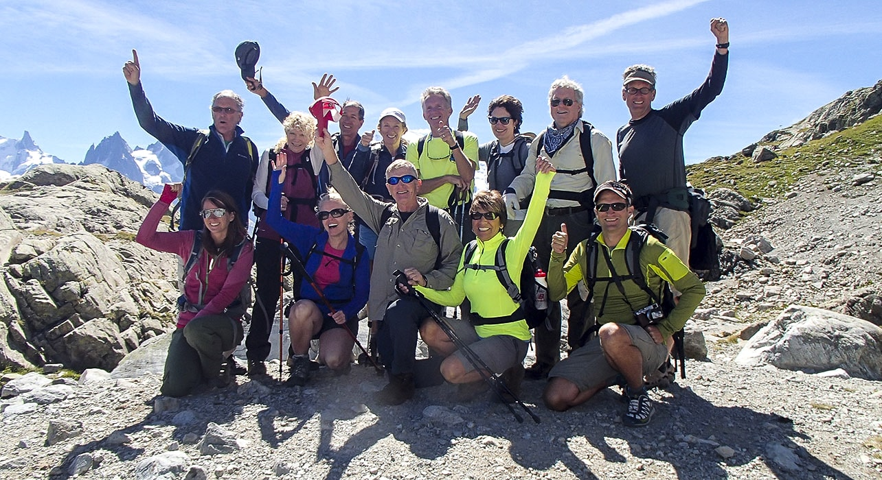 mt blanc group of happy hikers