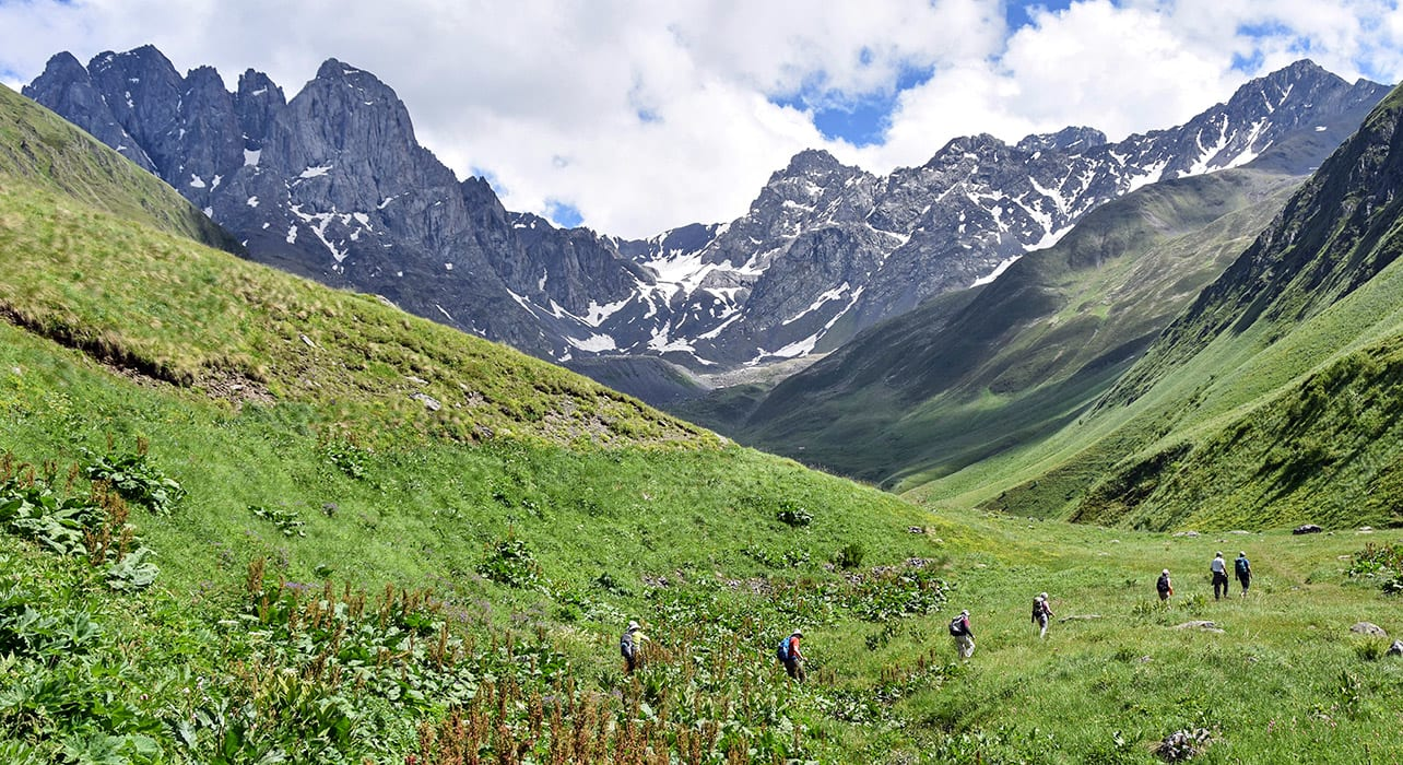 11 slide hiking mountains caucasus pano