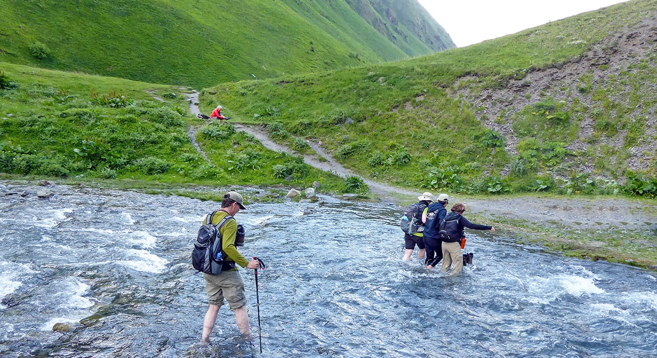 9 slide river crossing hiking caucasus pano