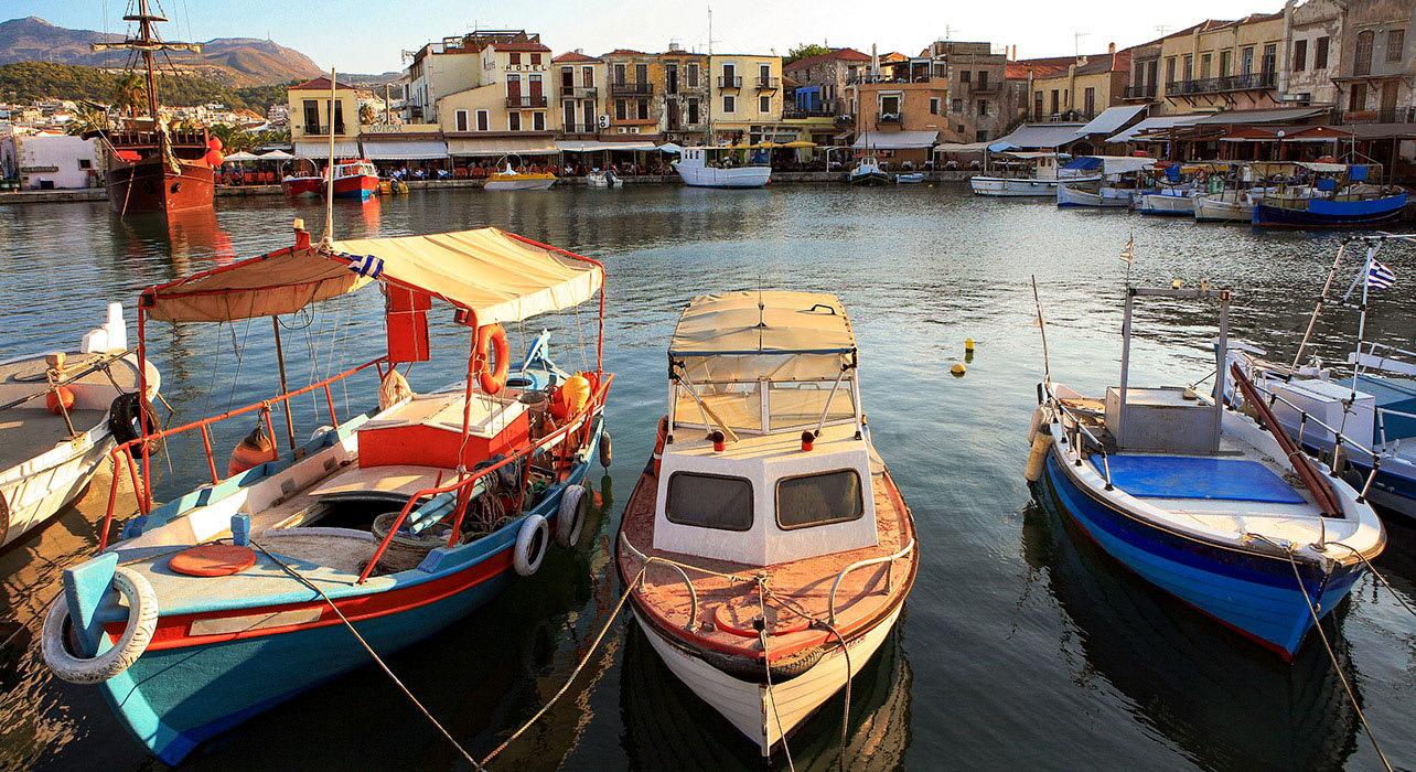greece rethymno harbor boats