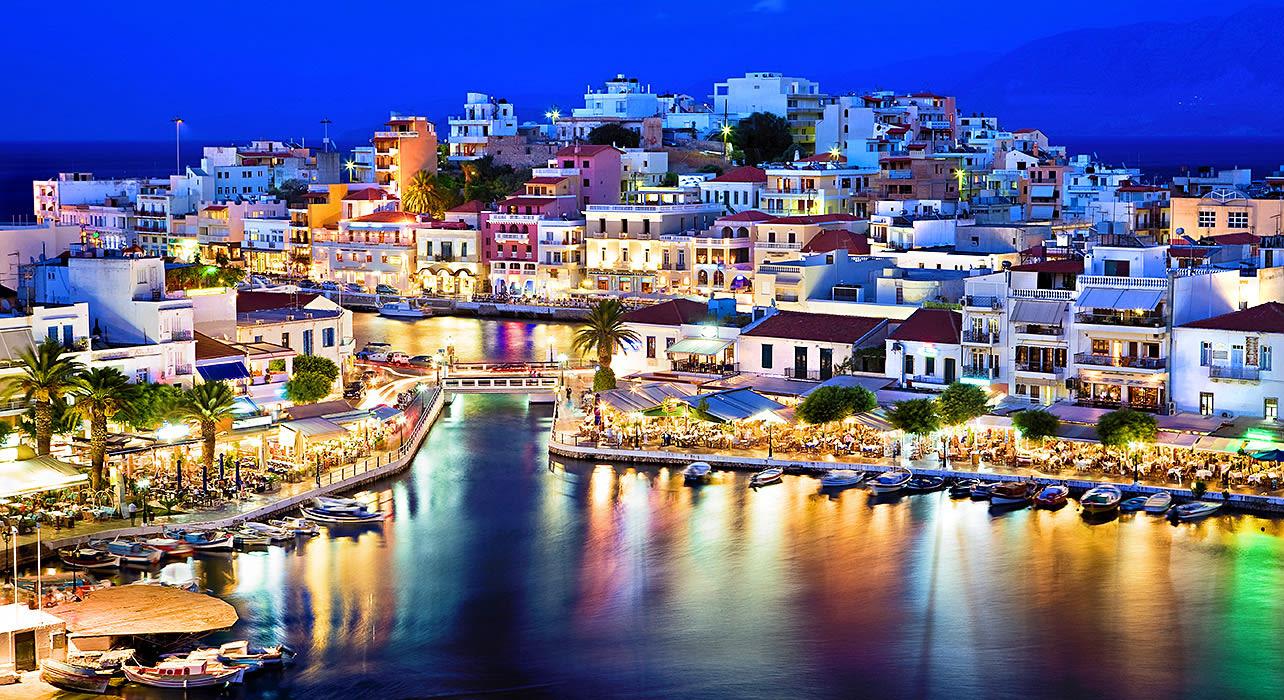 crete city lights on the marina
