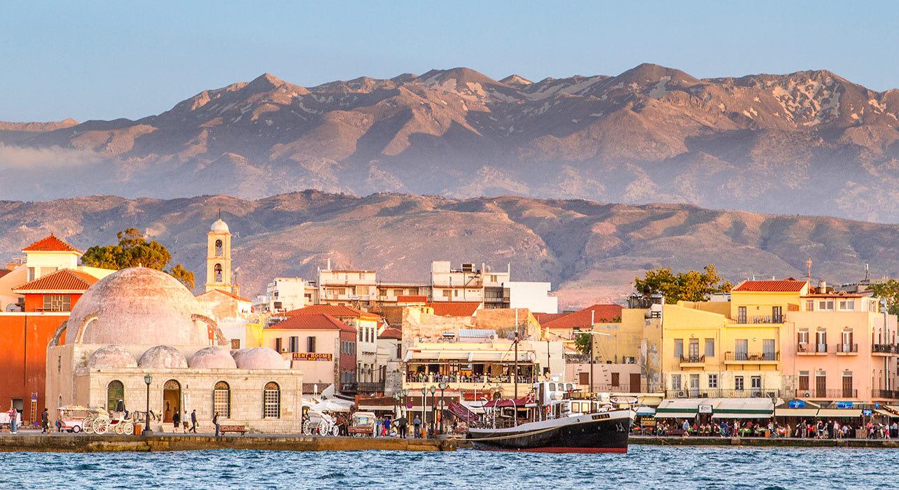 chania and white mountains harbor crete