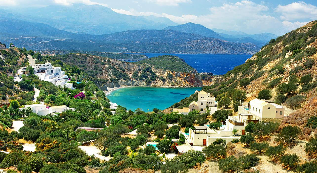 greece crete view of coastline town